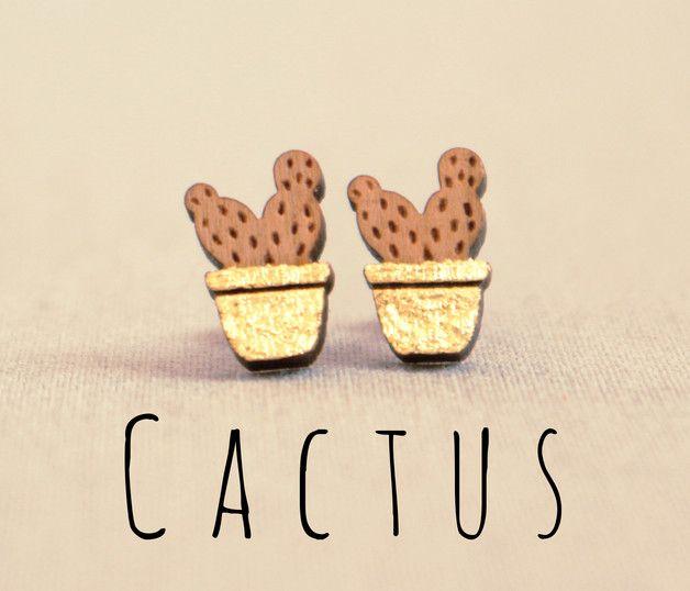 gold ° mini ° cactus ° holz ohrstecker | selber machen, kaktus und,