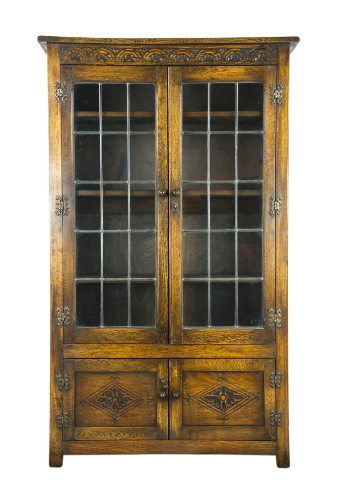 Antique Oak Bookcase Antique Bookcase Leaded Glass Case Scotland