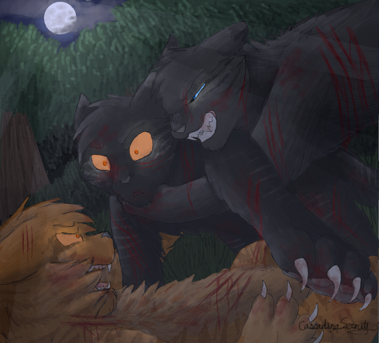 crowfeather saving lionblaze from breezepelt in the great