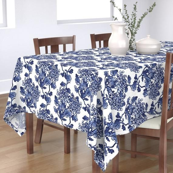 Floral Tablecloth - Chinoiserie by olgart - Blue Peonies  Spring Kitchen Home Decor Flowers Modern Cotton Sateen Tablecloth by Spoonflower #bluepeonies