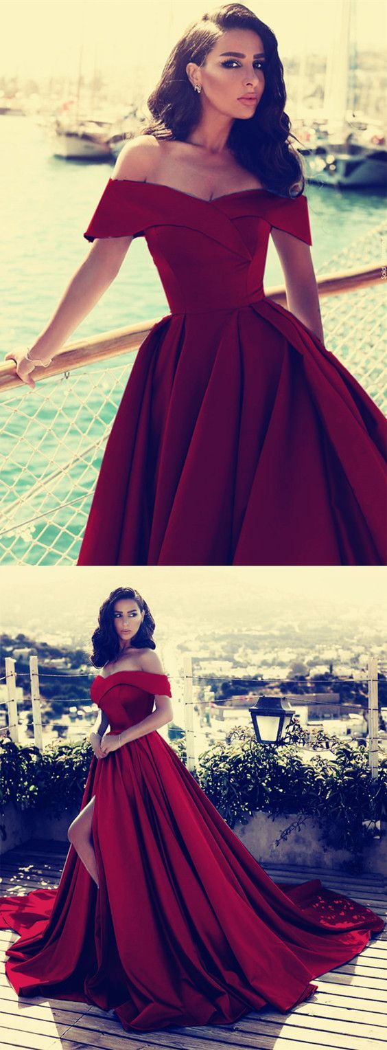 Burgundy satin vneck prom dresses off the shoulder evening gowns