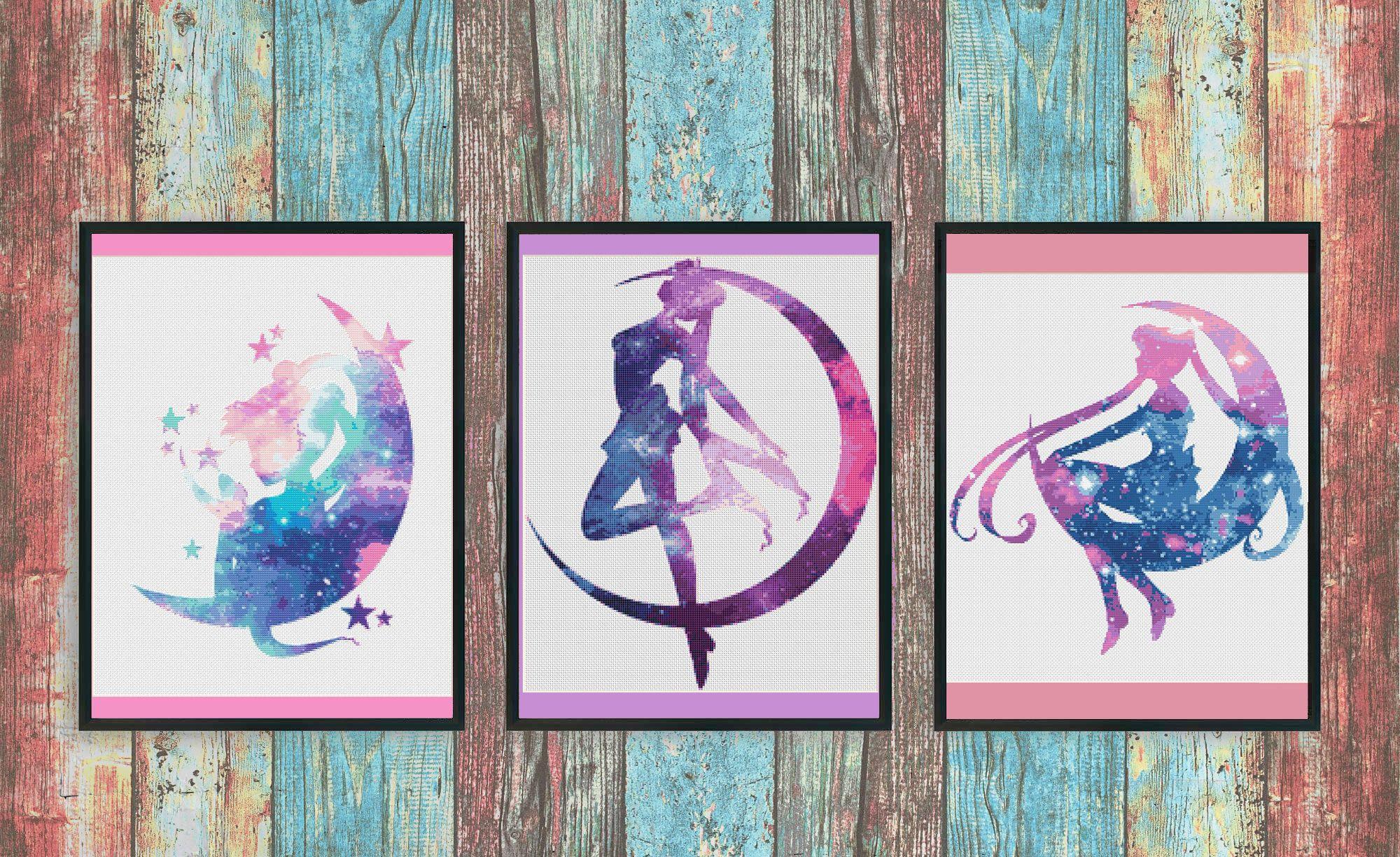 Sailor Moon Cross Stitch Pattern Set, Anime Cross Stitch