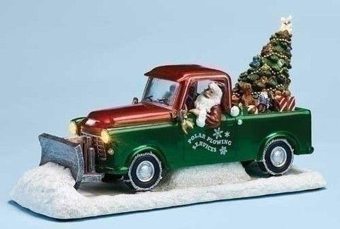 Santa\u0027s Plow Truck Music Box Lights Up  Plays Christmas Songs The
