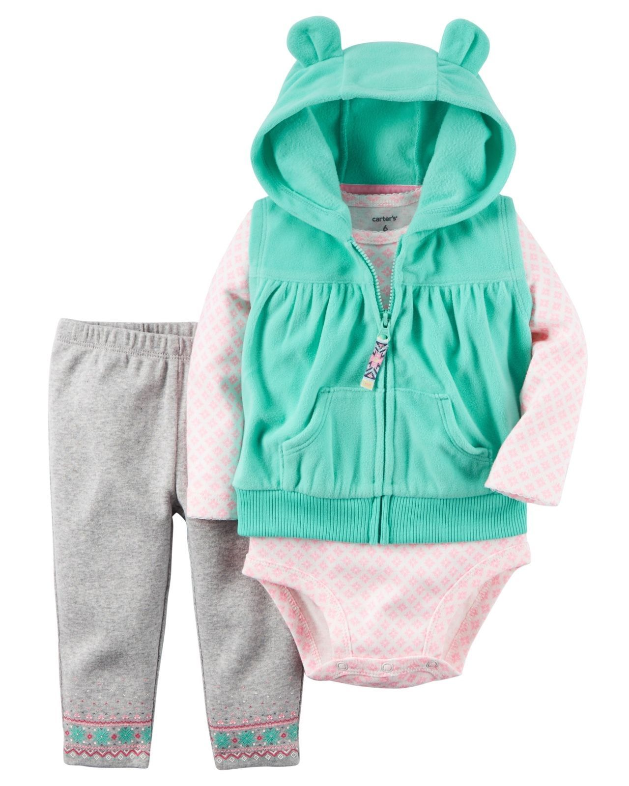 Carter/'s NWT 12M Girl Hooded Long Sleeve Top Legging Pant Set
