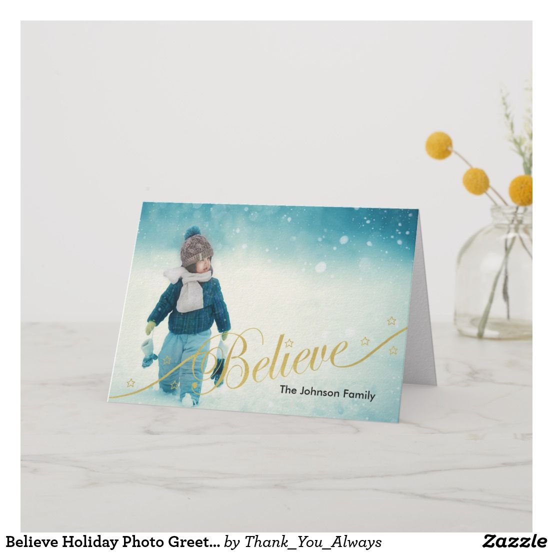 Believe holiday photo greeting card holiday