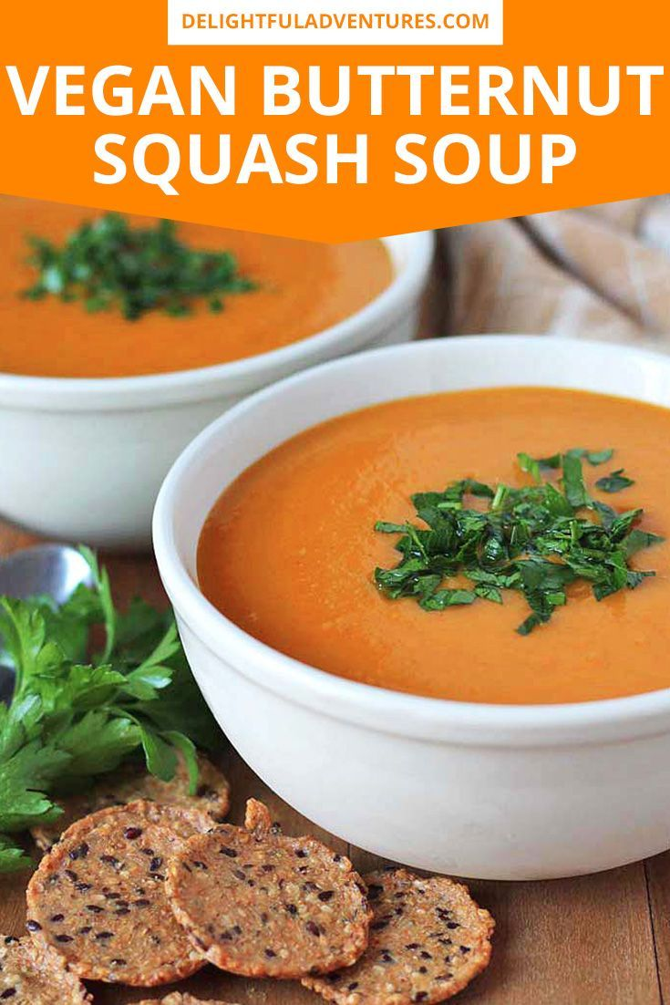Butternut Squash, Sweet Potato, Carrot Soup An easy, creamy, slow cooker / crockpot vegan butternut squash soup made with sweet potatoes, carrots, and coconut milk. Enjoy this healthy vegan soup during the fall or year round for lunch, dinner, or as a side dish.  via @delightfuladv