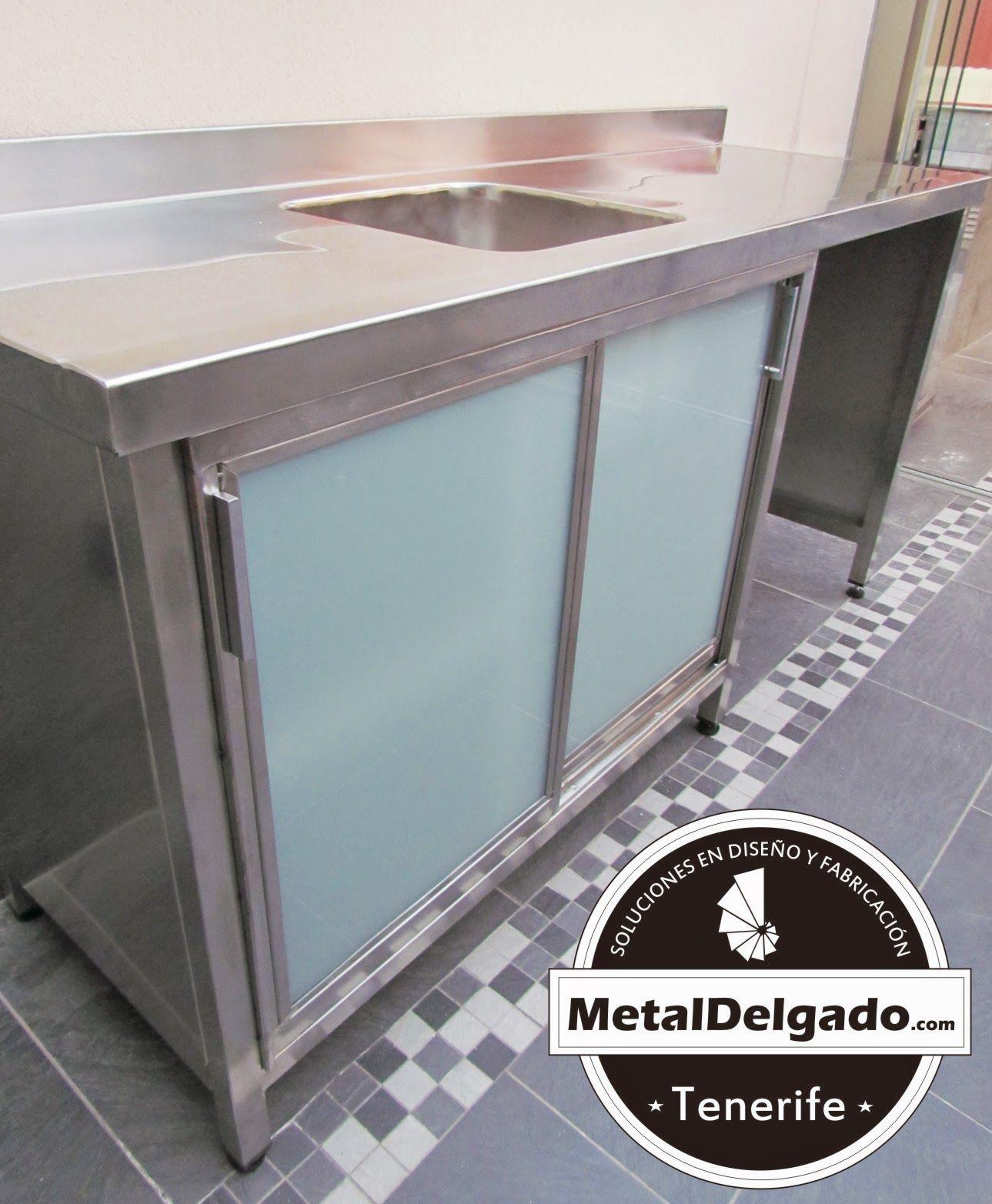 Muebles fregadero cocinas en acero inoxidable, bajo con puertas ...
