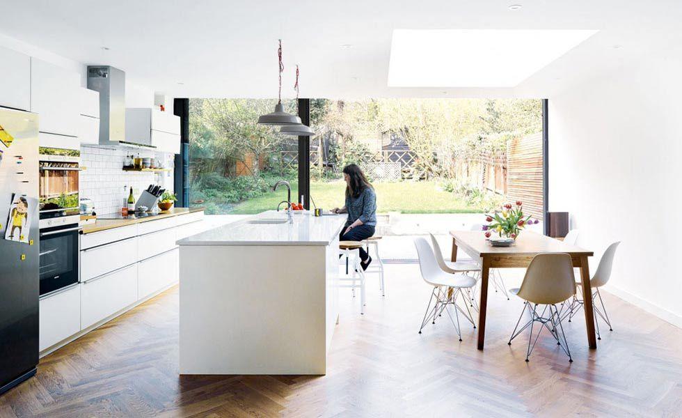 open plan kithen diner with parquet flooring | Home | Pinterest | Küche
