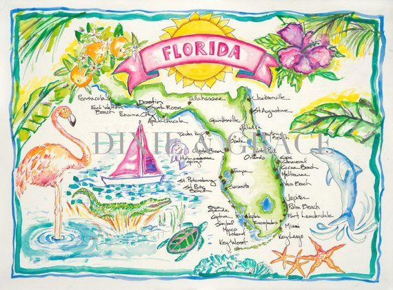 Map Of Watercolor Florida.Florida Map Watercolor Products Pinterest Watercolor