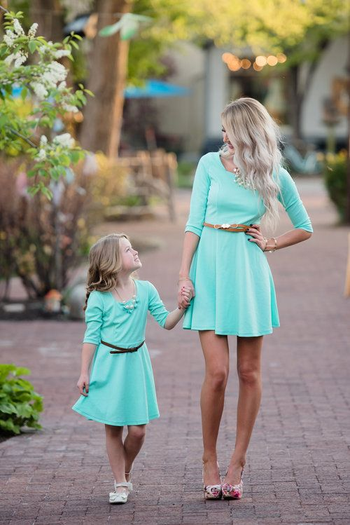 Mommy And Me Summer Dress In Mint With Brown Belt