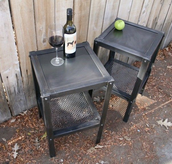 Handmade Scrap Metal Industrial Side Table Metal Furniture