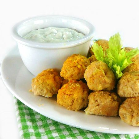 Buffalo Chicken Meat Balls with Blue Cheese Sauce