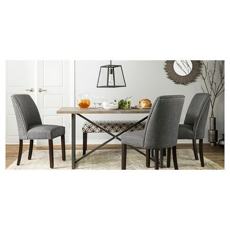 Wynnefield Mixed Material Trestle Dining Table   Threshold™ : Target