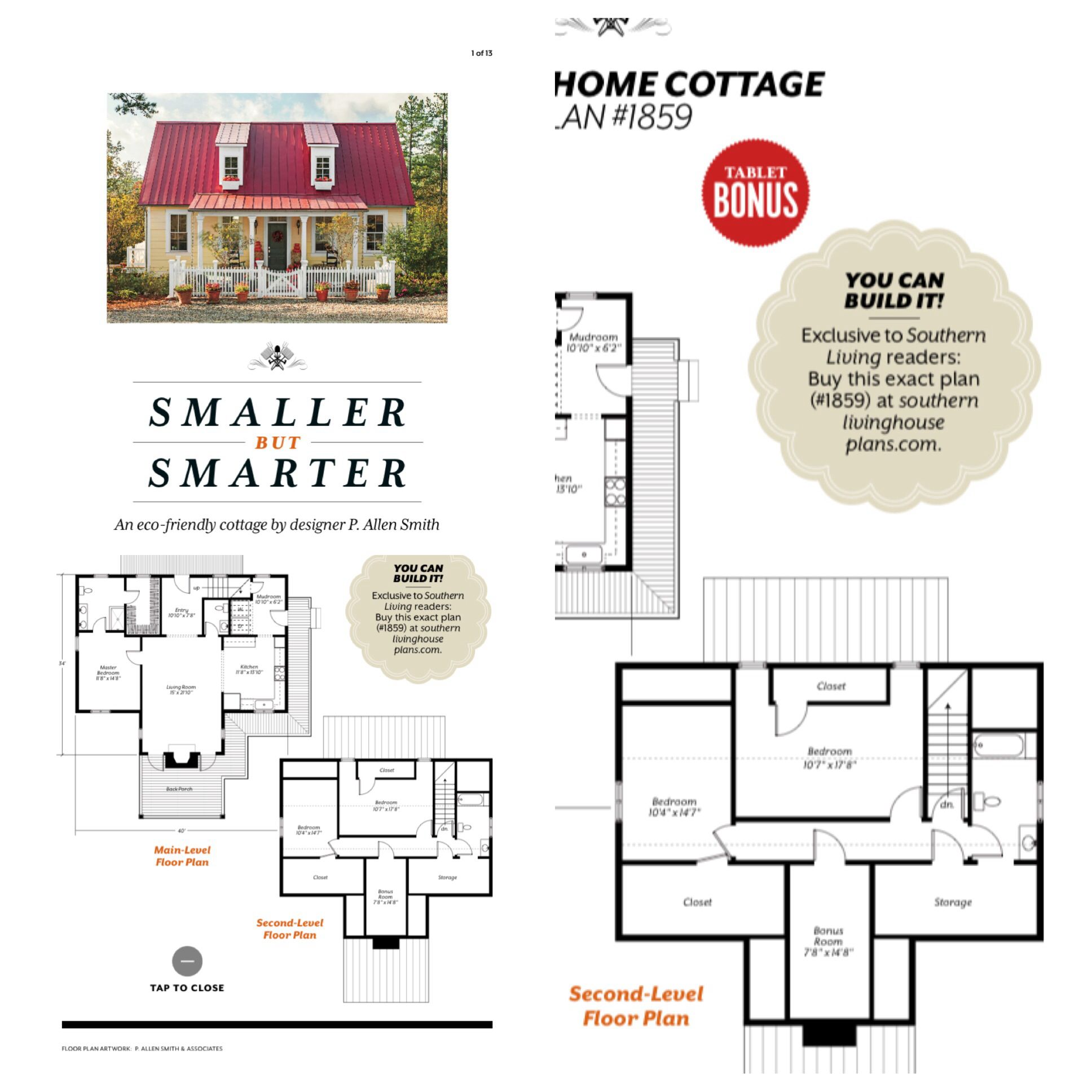 Southern Living Garden Home Cottage 1650 Sq Ft Small House Plans House Plans Small House