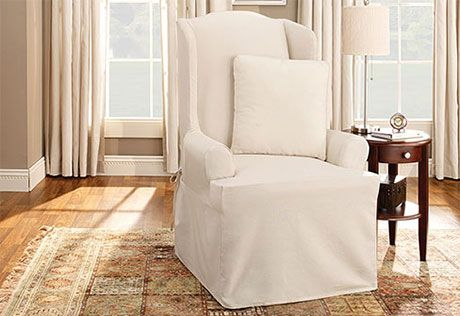 Excellent Cotton Duck One Piece Wing Chair Slipcover 100 Cotton Gmtry Best Dining Table And Chair Ideas Images Gmtryco