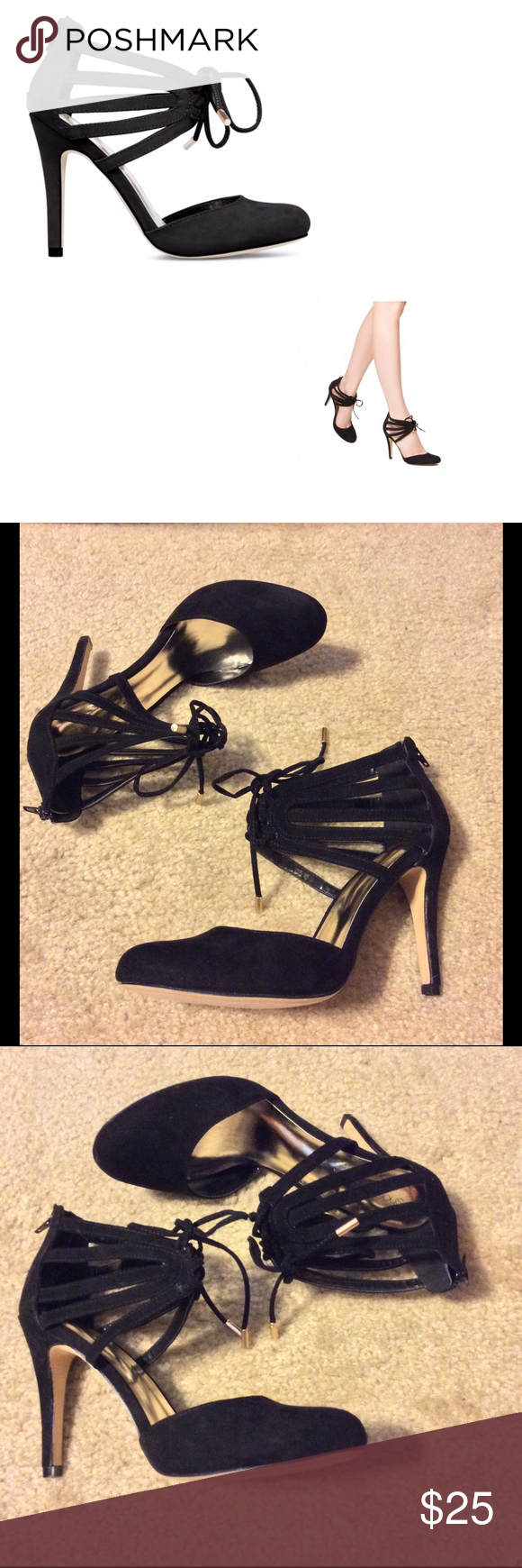 """Terilyn pumps by Shoedazzle These super sexy, lace up pumps by Shoedazzle are in excellent condition. Only worn once around the house for about 30 minutes. Outside heel is 4"""" but inside heel is 3"""" due to platform base. Shoe Dazzle Shoes Heels"""