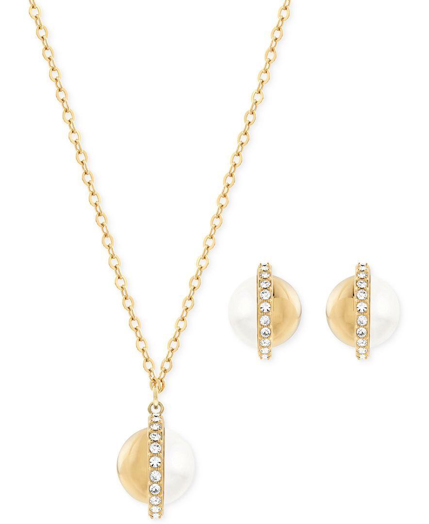 Swarovski goldtone imitation pearl pendant necklace and stud