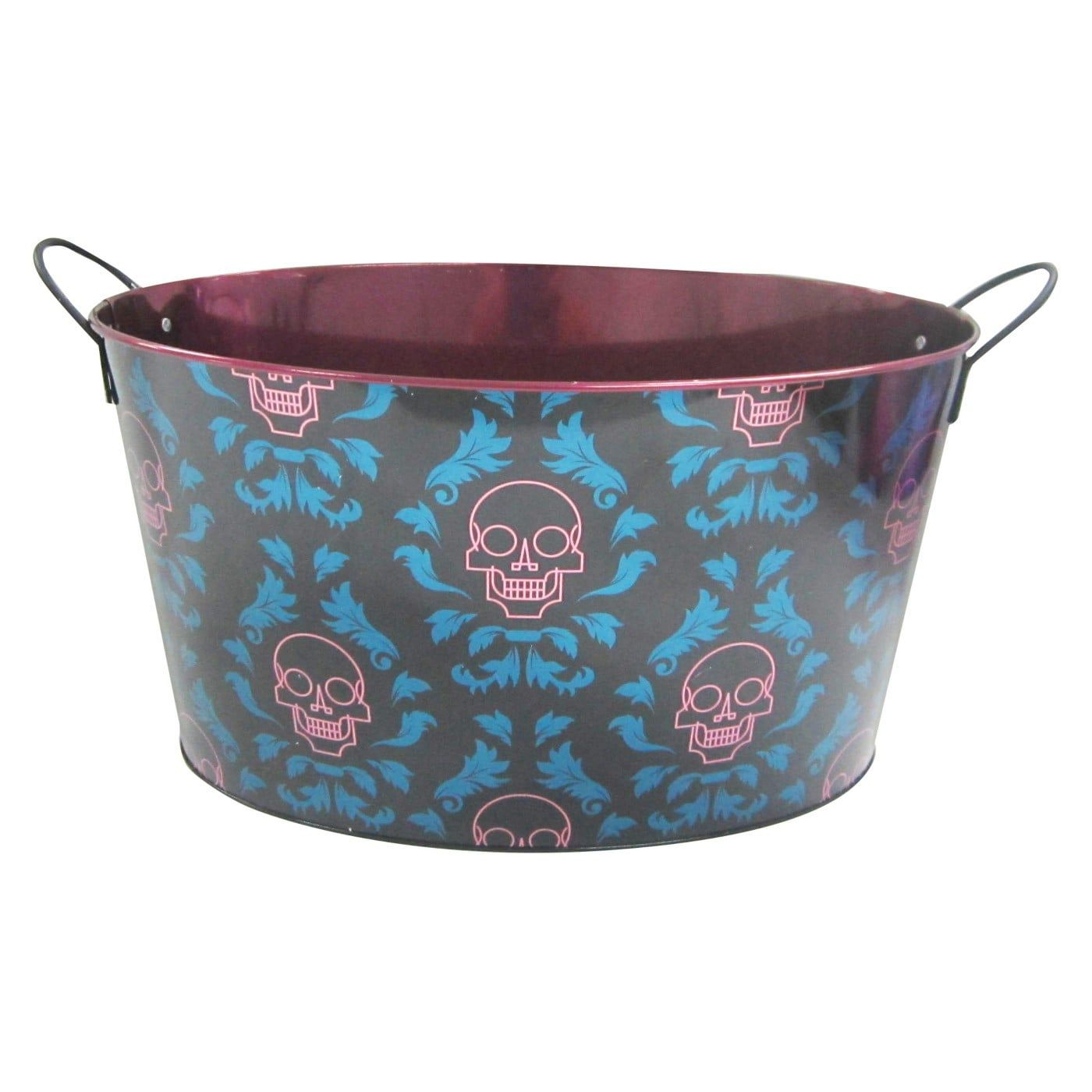 Hyde And Eek Boutique Halloween Metal Beverage Tub With Skulls
