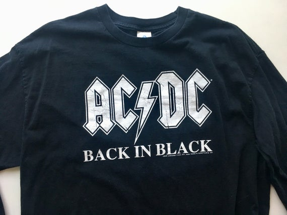 Ac Dc Back In Black Tee Shirt Color Black Size Xl Black Tee