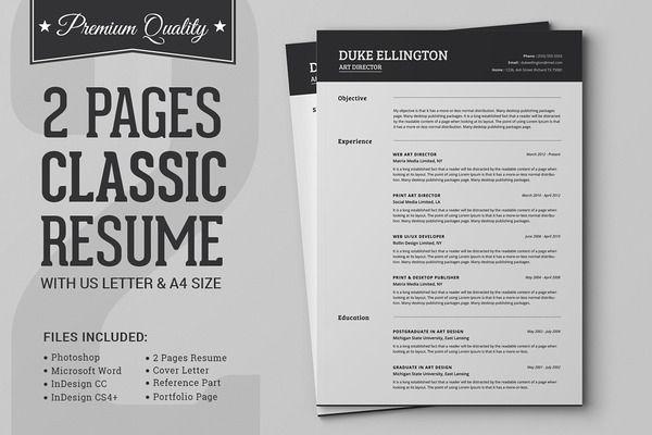 Two Pages Classic Resume CV Template | portfolio | Pinterest | Cv ...