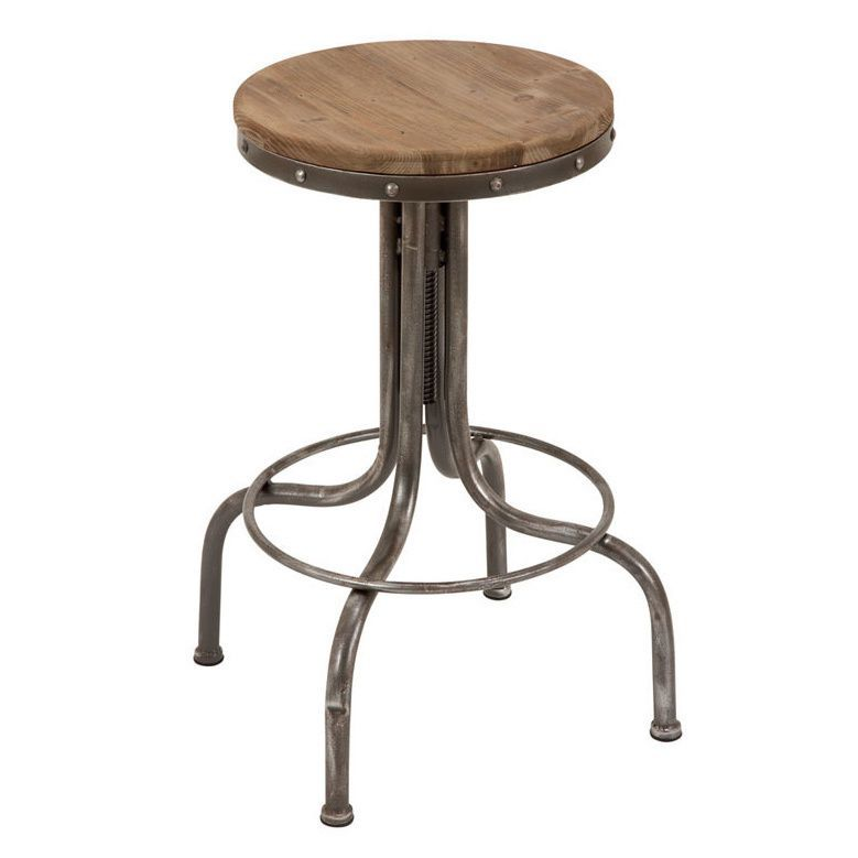 Metal and Wood Bar Stool with Foot Rest