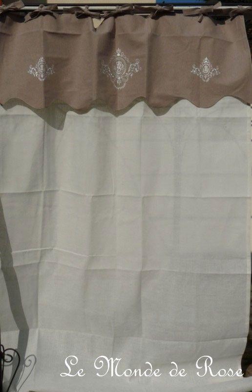 Rideau monogrammes n 1 grand rideau nouettes cru et - Rideaux en lin beige ...