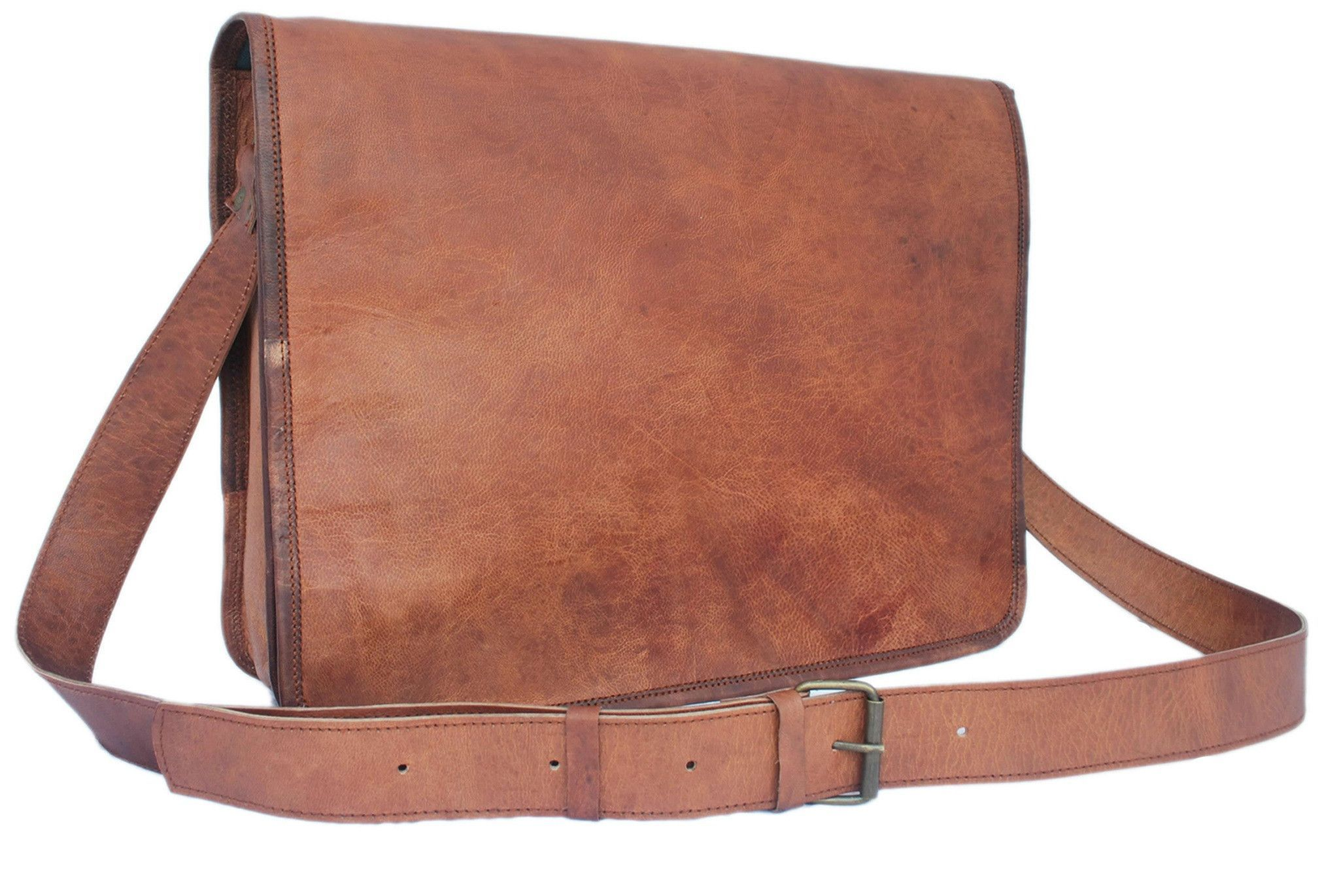 VINTAGE BROWN LEATHER MESSENGER BAG 15""