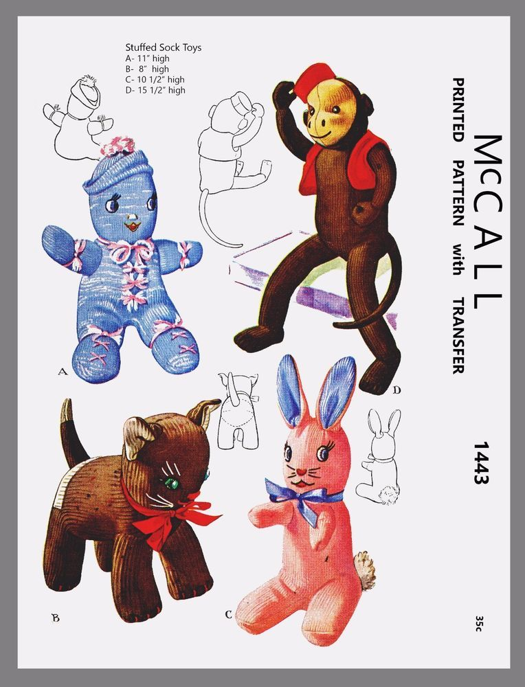 Vintage McCall Stuffed Sock Doll Cat Bunny Monkey Fabric Sewing ...