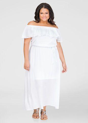 187ca20d2e6 Plus Size Dresses In Sizes 12 to 36. Lace Trim Off-Shoulder Maxi Dress