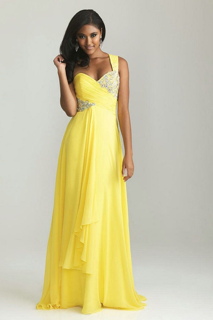 One Shoudler Beaded Ruched Yellow Bridesmaid Dresses A Line Long