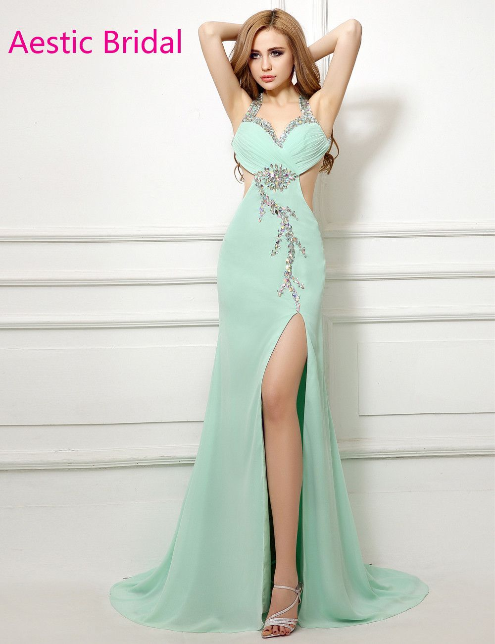 Click to buy ucuc imported party dress mint green chiffon halter neck