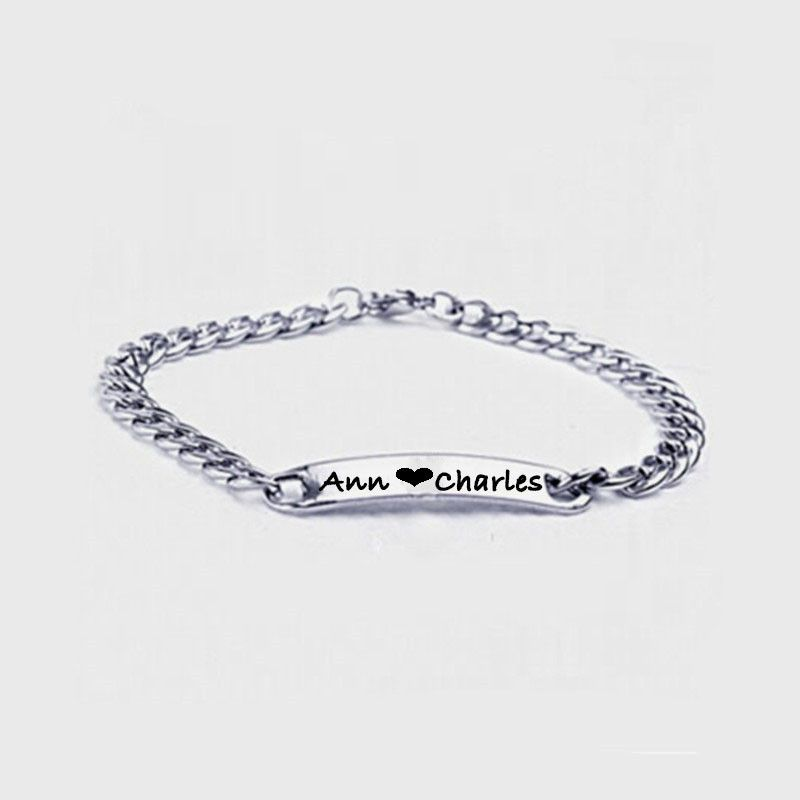 8cca41d8d23bf Custom Name Bracelet Bangle, Stainless Steel Monogram Name Bracelet ...