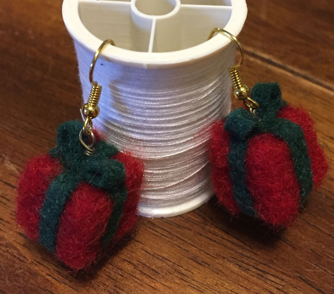 "Needle felted present earrings. Under 1"" tall. Very lightweight. Made in under an hr. Very cute for Christmas!"
