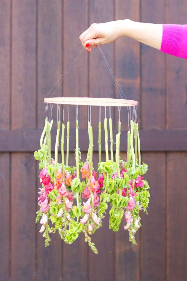 Diy Hanging Flower Chandelier With Images Diy Spring Crafts