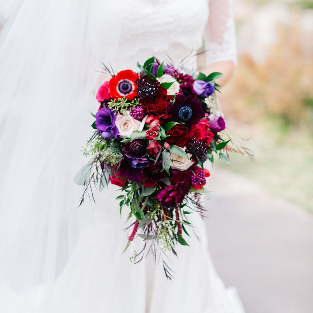 Jewel Tone Wedding Flowers: Fall, Jewel Tone Cascade Bridal Bouquet. In 2019