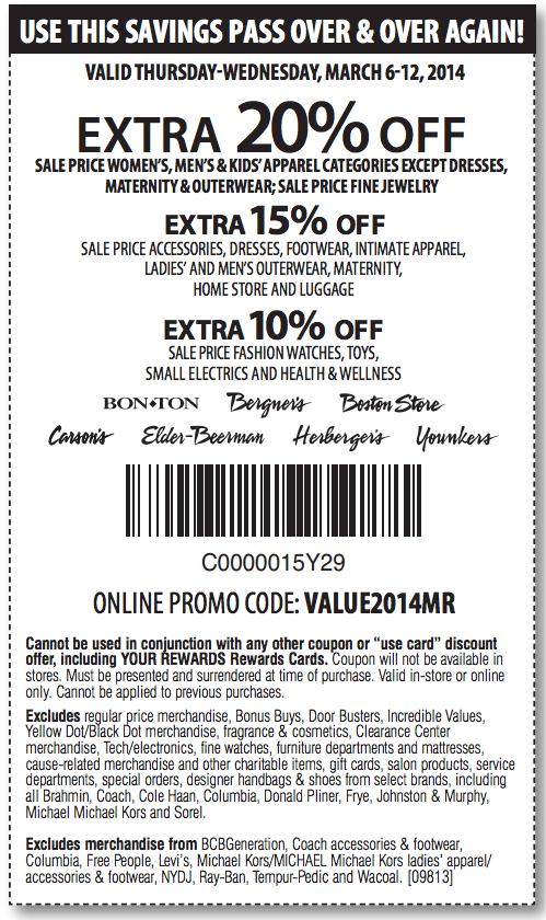 image relating to Elder Beerman Printable Coupons called Carson Pirie Scott: 10%-20% off Printable Coupon Discount coupons
