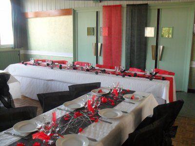 D coration blanc rouge et noir mariage mariage for Deco table noir et rouge