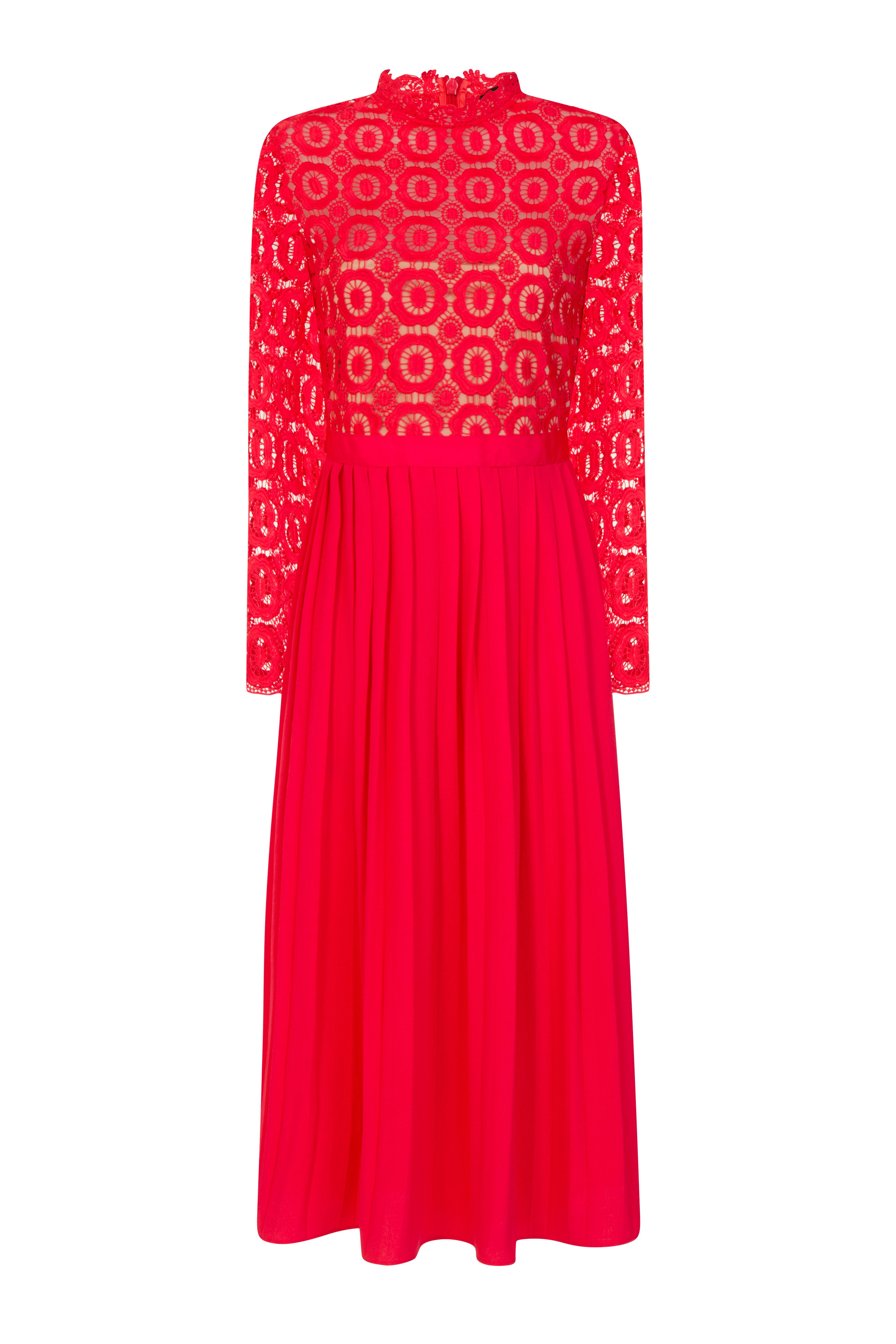 Red Crochet Lace Midi Dress With Pleated Skirt Dresses Midi Dress Lace Midi Dress