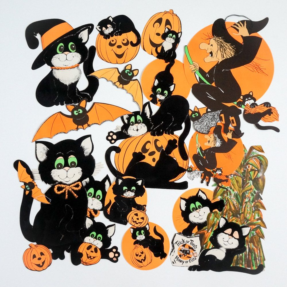 1960s halloween decorations - Vintage 1960s Halloween Decorations 60s Paper Die Cut Black Cats Bats And Witches Wall Decorations Set Of 14 Flocked Double Sided