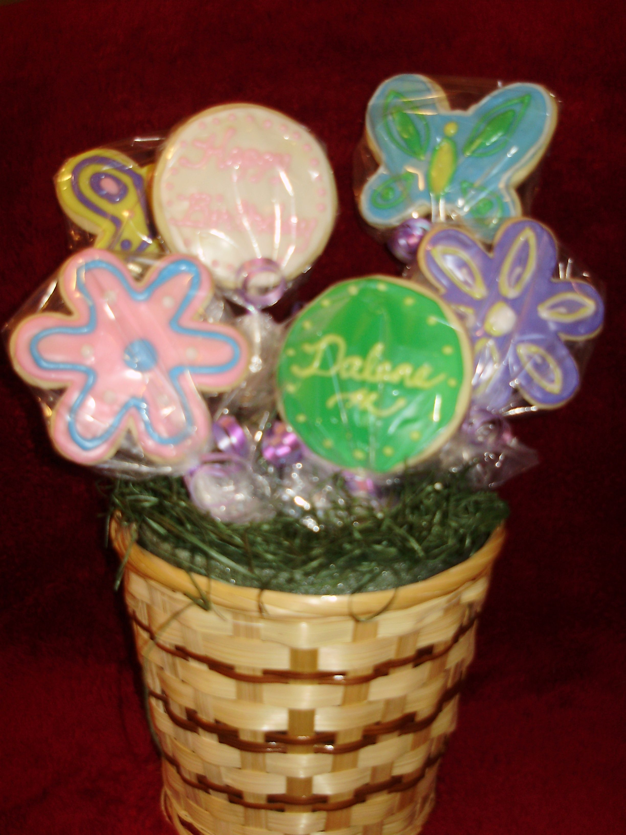 Cookie birthday bouquet i made using the sugar cookie and