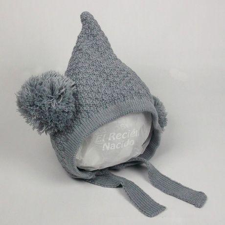 Gorrito duende en gris con dos pompones Gorro o capota divertida para bebé  o recién nacido 710d569d4a6