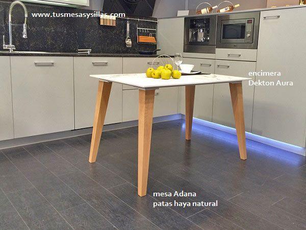 mesa de cocina y comedor con patas en madera de haya, blancas ...