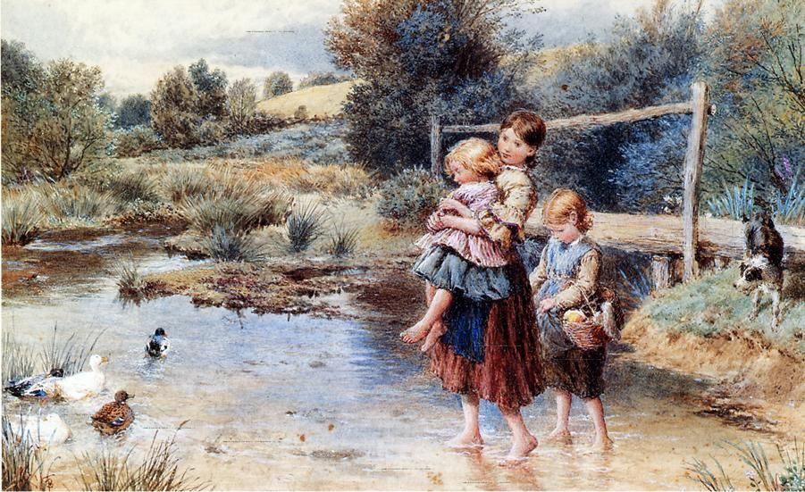 Myles birket foster children paddling in a stream painting for Oil painting for kids