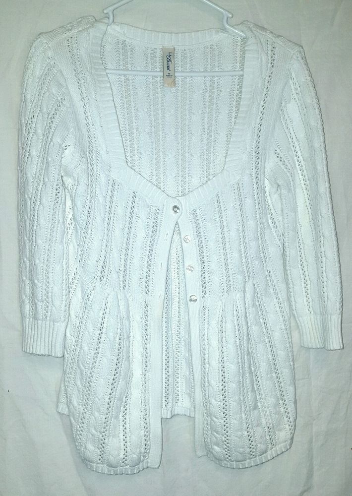 Womens L.A. BLUES Gorgeous White Summer Lacy Button Down Sweater ...