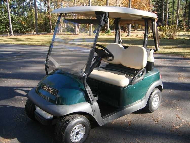 Club Car Precedent Electric Golf Cart With Strong Batteries 2c Rear View Mirrors Windshield Headlights Tail Lights And Portable Rain