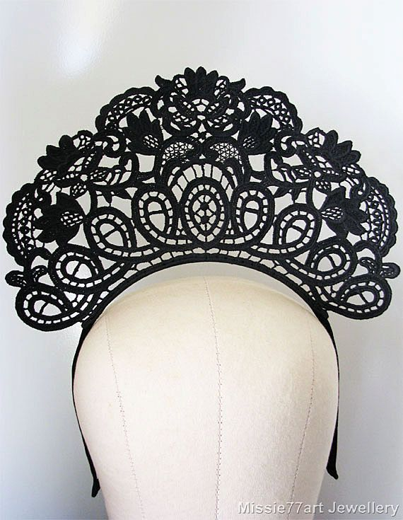 Black Lace Crown 1920s Headpiece Art Nouveau Fascinator Gatsby ... 1468f710bc6