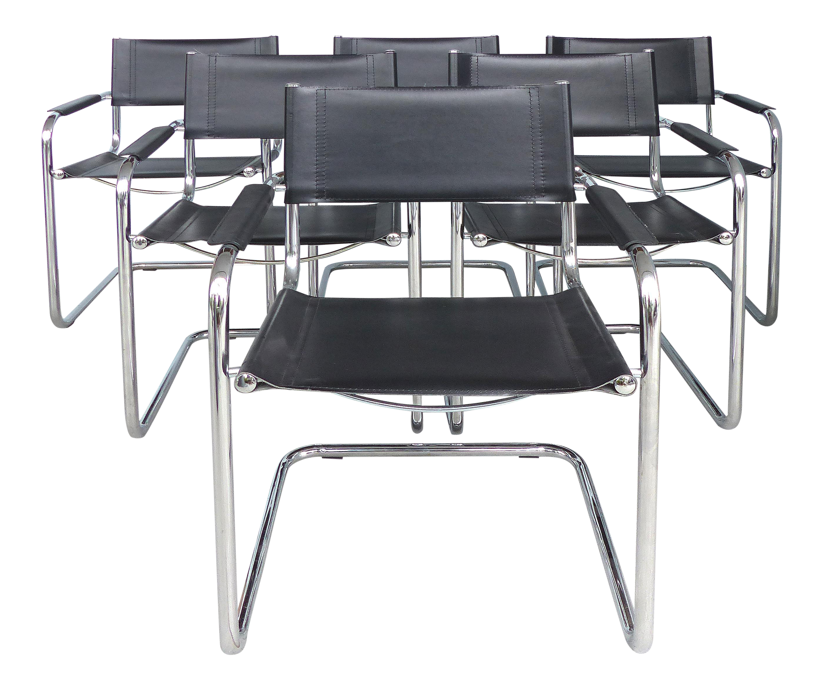Italian Tubular Chrome Leather Dining Chairs After Marcel Breuer Set Of 6 Dining Chairs Leather Dining Chairs Chair