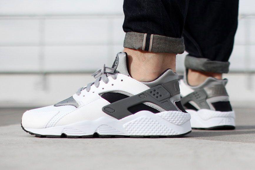 official photos 59555 1a1a4 Nike Air Huarache White Wolf Grey-Black - Tags  sneakers, low-tops, cuffed  black denim, on feet
