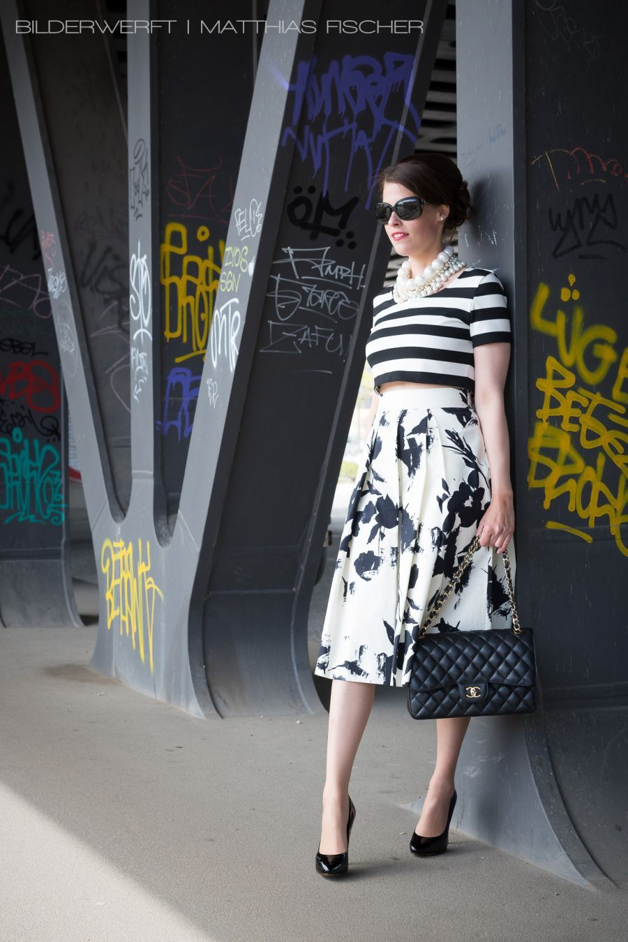 Black White Striped Crop Top Pleated Skirt White With Black Flowers