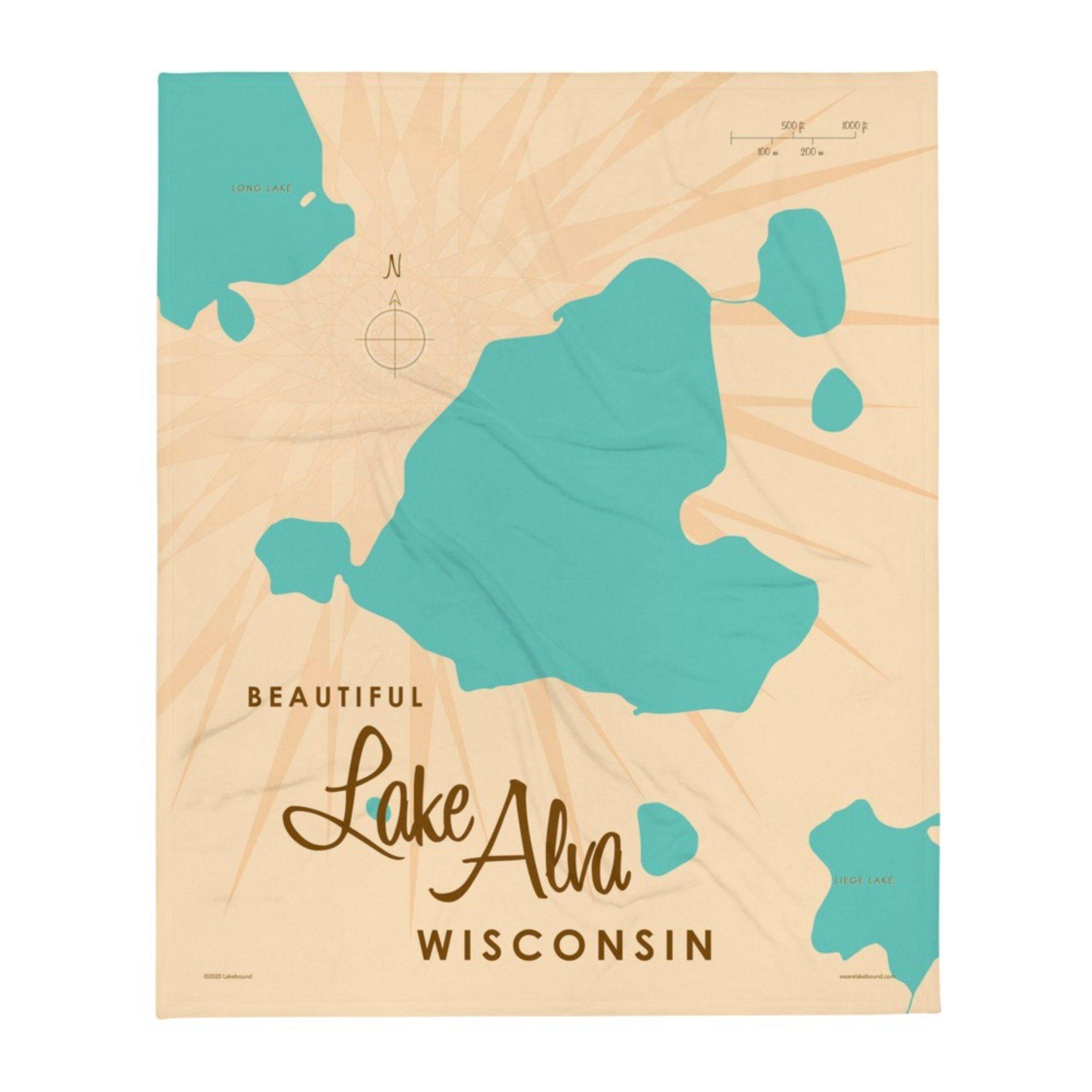 Lake Alva Wisconsin Throw Blanket - 50x60 inch / White